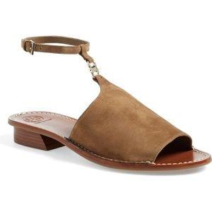 Tory Burch Gemini Suede Ankle Wrap Sandal 7.5